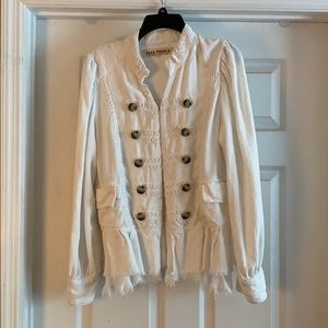 Free People White Military Lace Jacket
